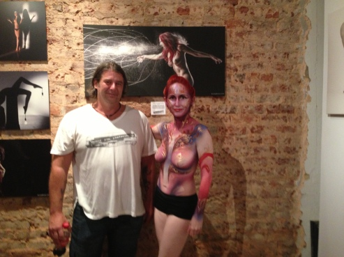 Artist Craig Gum with body paint model.