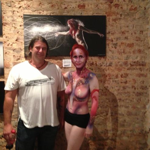 Artist Craig Gum with body paint model.
